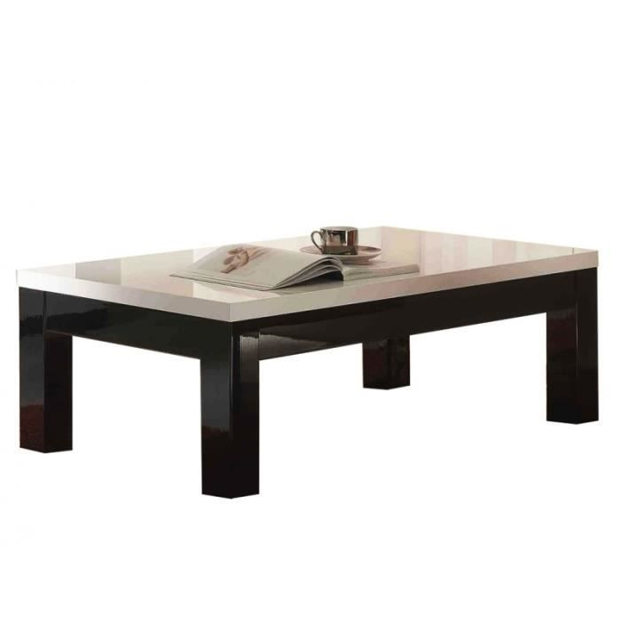 Table basse roma laqu noir blanc rectangle achat vente table basse tab - Table basse laque noir et blanc ...