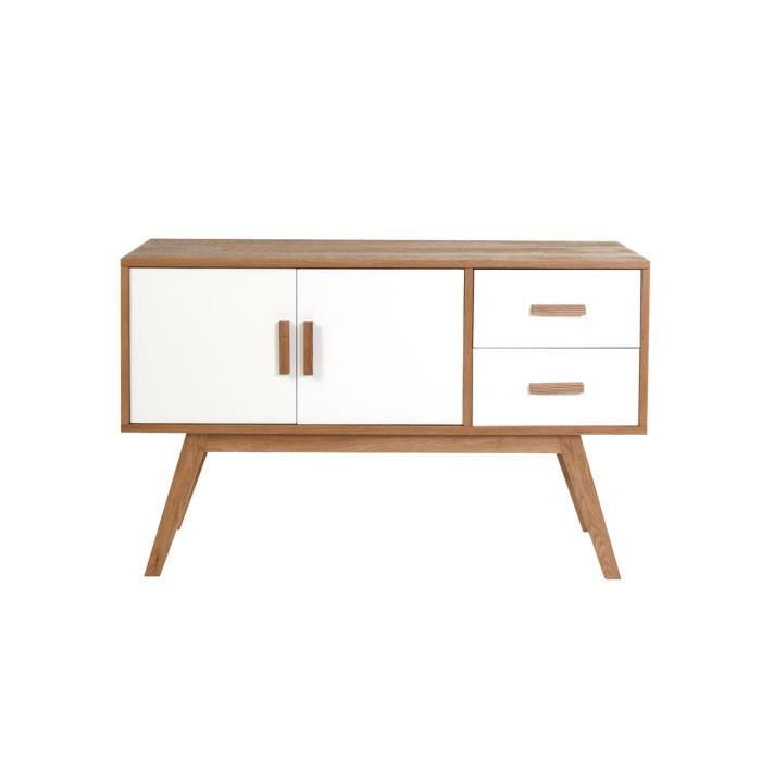 miliboo buffet bois naturel et blanc 2 portes achat vente buffet bahut helia buffet 2p. Black Bedroom Furniture Sets. Home Design Ideas