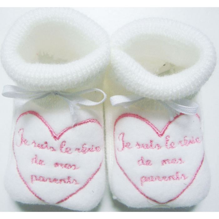Chaussons b b brod s je suis l blanc rose beige blanc rose achat vente chausson - Bebe gar kamer model ...