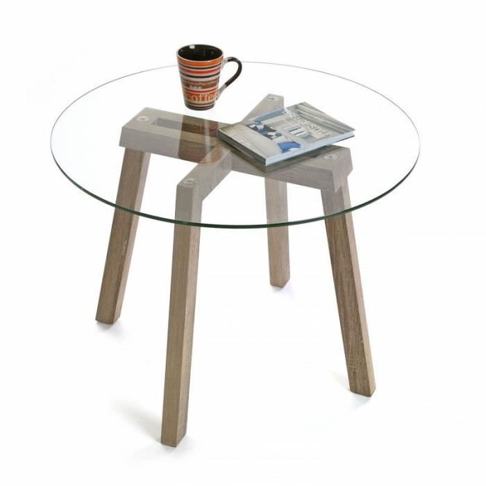 table basse verre ronde bois achat vente table basse verre ronde bois pas cher les soldes. Black Bedroom Furniture Sets. Home Design Ideas