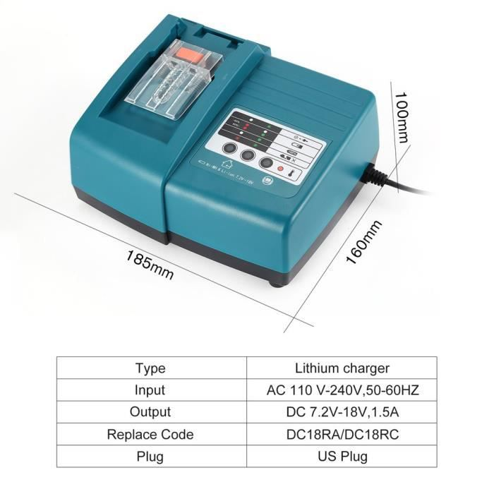 Remplacer DC18RA DC18RC 3A 14.4V~18V Chargeur 3A Chargeur pour Makita BL1850 BL1830 BL1840 194204-5 196672-8 LXT400 Battery Replacement 18V 5,0Ah Battery