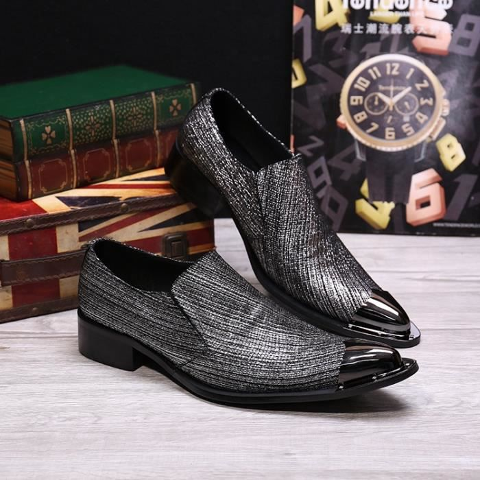 Mancuello Slip On Party et mariage Chaussures Hommes d'affaires Toe Métal style sociales Sapato Masculino Taille Big 38-46 uVxTzWgk