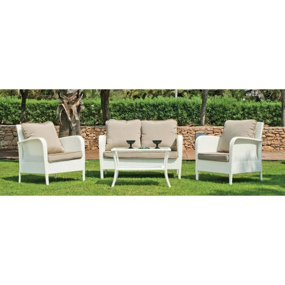 pola salon de jardin 4 places blanc achat vente salon de jardin pola salon de jardin 4. Black Bedroom Furniture Sets. Home Design Ideas