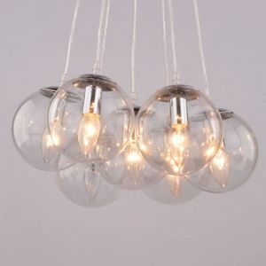 Suspension luminaire boule blanche achat vente for Suspension boule verre