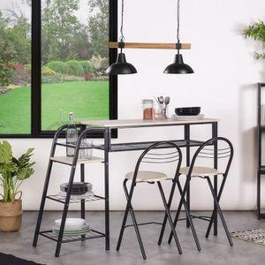 TABLE DE CUISINE  Homy Casa Ensemble Table et 2 Chaises de Salle à M