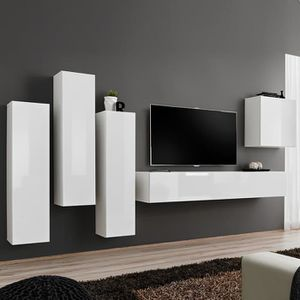 MEUBLE TV Composition TV murale blanc laqué FORENZA 3 Blanc