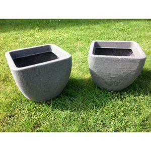 JARDINIÈRE - BAC A FLEUR UK-Gardens SET OF 2 Grand pot à fleurs en granit g