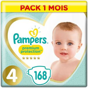 PAMPERS Premium Protection Taille 4 8-16 kg - 168 Couches - Pack 1 Mois
