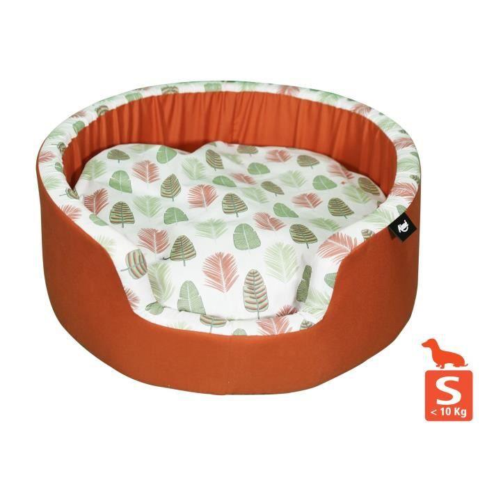 AIME Corbeille pour petit et moyen chien, Sweet tropical - Taille S - 50cm - Coussin amovible confort design nature