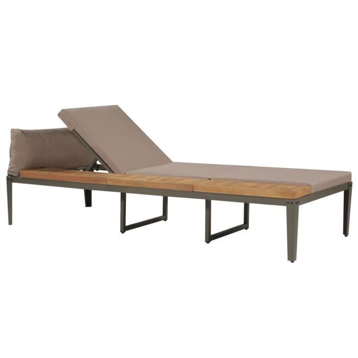 Chaise longue avec coussins Bois d'acacia solide Marron HB44249 -XNA