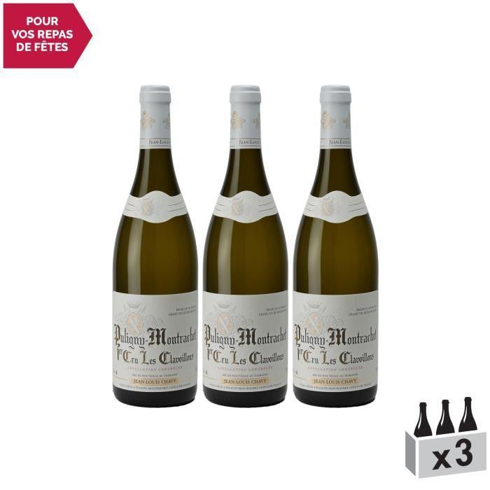 Puligny-Montrachet 1er Cru Clavaillon Blanc 2018 - Lot de 3x75cl - Domaine Jean-Louis Chavy - Vin AOC Blanc de Bourgogne - Cépage