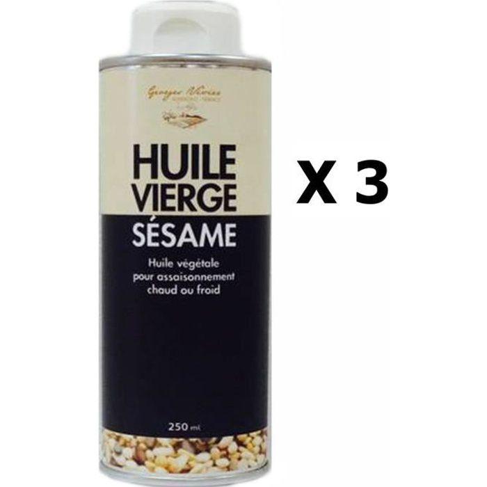 Lot 3x Huile vierge de sésame - Georges Nivier - Auvergne - bouteille 250ml