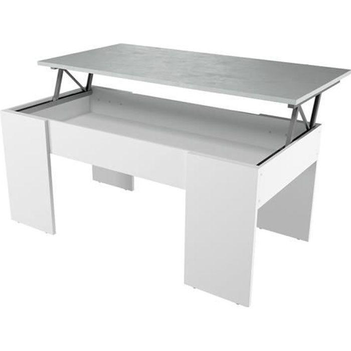 Table basse GOTHAM avec plateau relevable et rangement - Couleur - Blanc / Béton