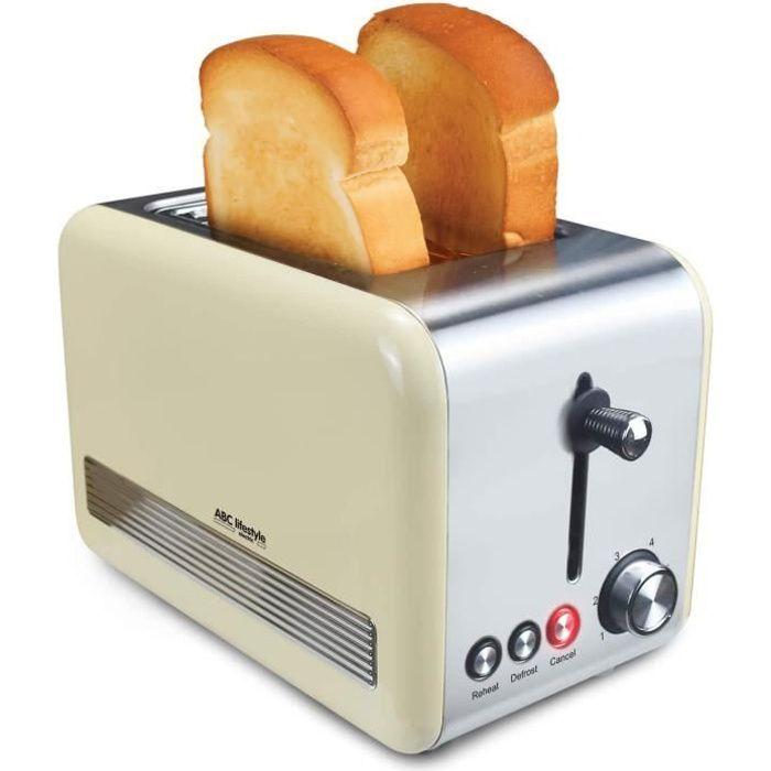 Grille-2 Fentes-Cuisson Rapide-Petit Déjeuner- Contrôl Niveaux de Brunissage-Toaster Vintage-850W-Beige.