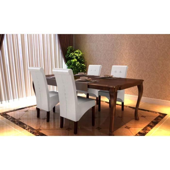 Chaise de salle à manger antique simili cuir blanc- lot de 4