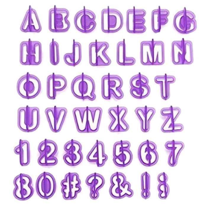 OKPOW Lot de 40PCS d'Emporte-pièces d'Alphabet Chiffres Signes en Pastique pour Pâtisserie Décoration de Gâteau Biscuit Cook Bi14427