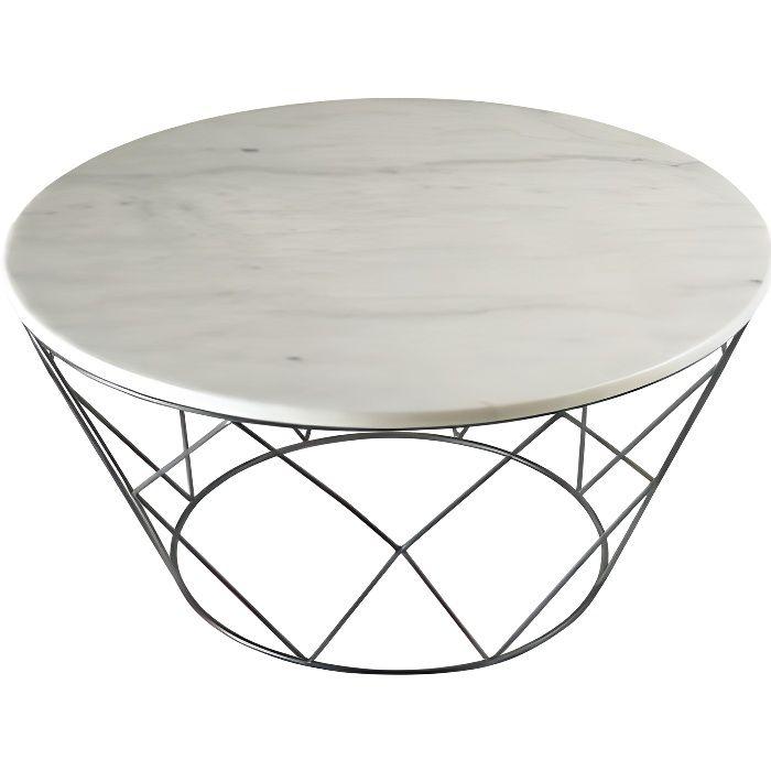 Table basse marbre blanche et chrome WEB