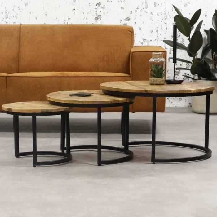 Cedric Table Basse Ø70 / 53 / 41 cm Industriel - Bois Massif
