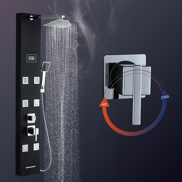 Auralum® Colonne de Douche avec Six Micro-jets de Massage Intégrées et Écran LCD--en Acier Inox Noir