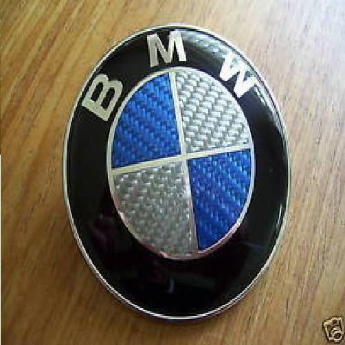 2 Logo Embleme BMW 82mm Coffre Capot E30 e36 e46 e39 e60 e90 X3 X5 carbone bleu
