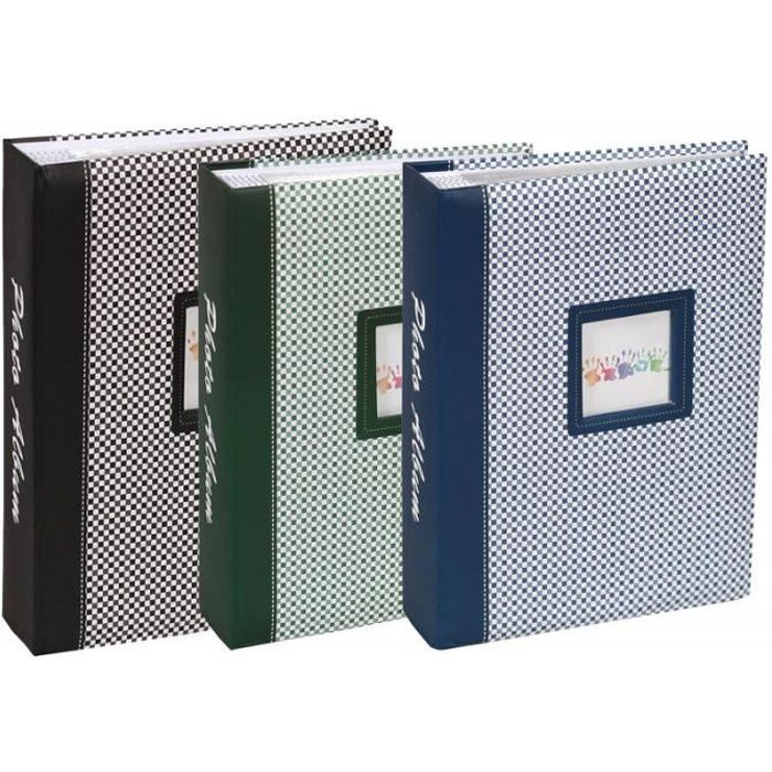 lot de 3 albums photo elements 200 pochettes 10x15 noir vert bleu 10x15 cm Non