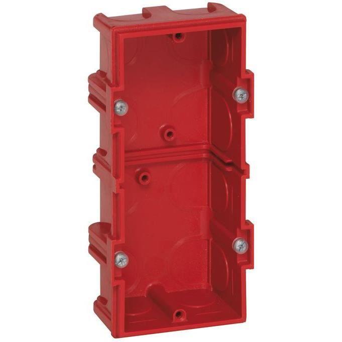 LEGRAND Boîte de maçonnerie Batibox carrée - 2 postes - 40 mm - rouge