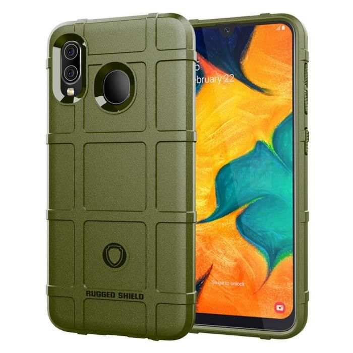 Coque Samsung Galaxy A20,Vert Luxury Armor Antichoc Telephone Bumper