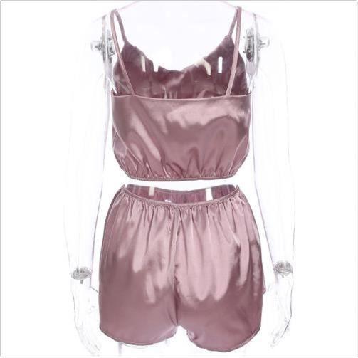 2 pcs / set Femmes Soie Satin Shorts Robe Pyjamas Babydoll Nightdress Pyjamas