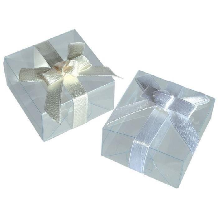 3 Boîtes cadeau avec noeud 5 x 5 cm - 3 couleurs assorties