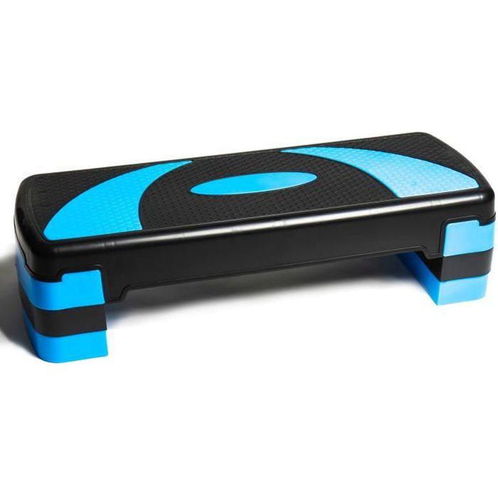 PRISP Stepper Fitness à Hauteur Réglable (3 Niveaux, 10/15/20 cm) Planche de Step Aérobic pour Cardio 78 x 28 cm - Bleu et Noir