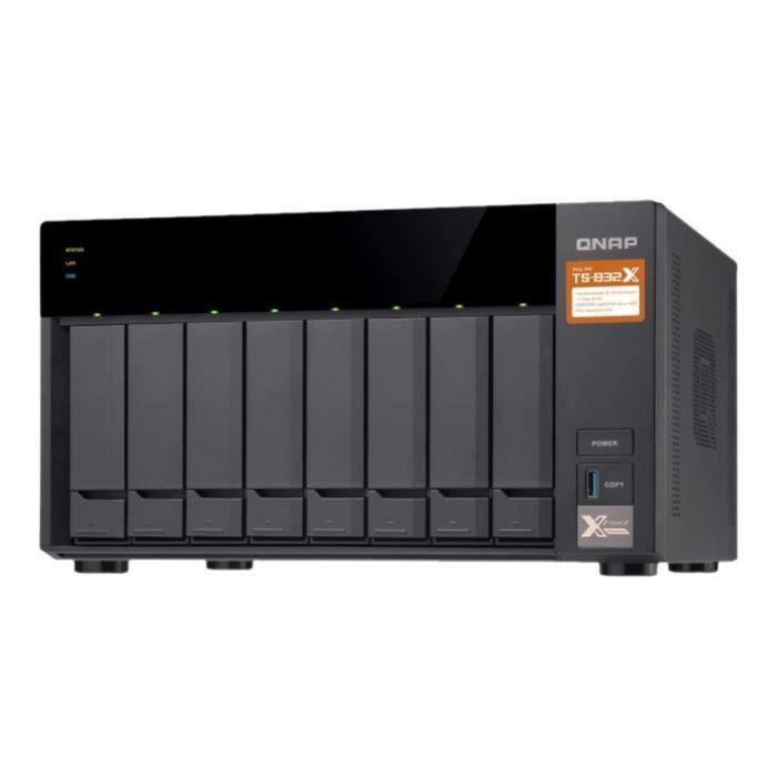 QNAP - Serveur de Stockage (NAS) - TS-832X-2G - 8 Baies - 2 Go de RAM et processeur Quad-Core Cortex A-57 1.7GHz - Boitier nu