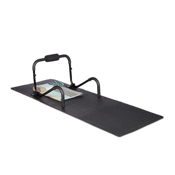 Relaxdays Tapis de protection sol dalle amortissante son fitness noir 60 x 60 cm, 3m² set de 8, 1cm épaisseur, noir