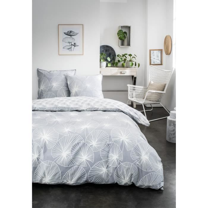 TODAY Parure de lit Mawira 1.18 - 1 housse de couette 240 x 260 cm et 2 taies d'oreiller 63 x 63 cm - 100% coton - Blanc TODAY