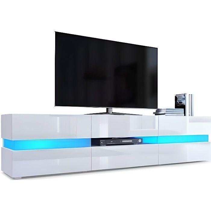 Meuble tv avec Led intégrée -Blanc brillant