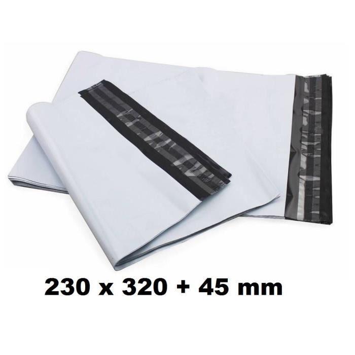 lot de 10 Enveloppe Plastique d'expédition 230 x 320 + 45 mm de rabat enveloppe blanches opaques indéchirable pour envoi de produits