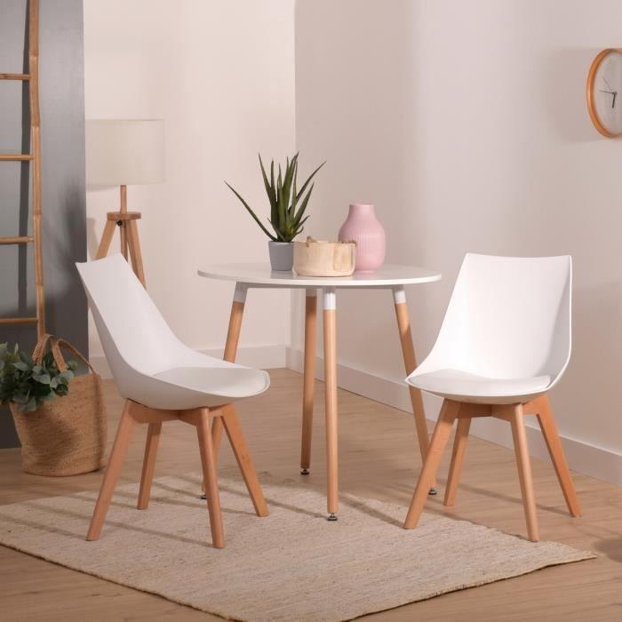 blancpieds 2 en à chaises salle dos plastique style massifidéal Lot en mangers de pour Scandinaveassise et tendanceen bois Ovm8nwN0y