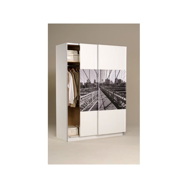 Armoire 2 portes blanche new york 1 - Deco new york pas cher ...