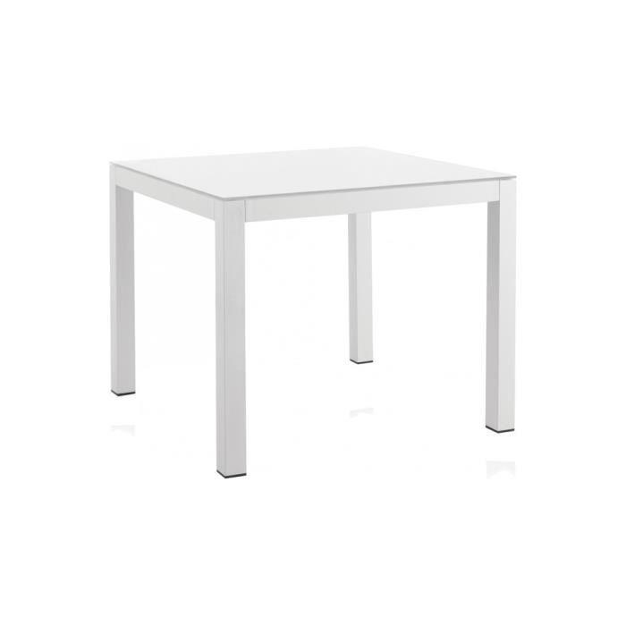 Table carrée aluminium blanc plateau verre blanc L90 - AQUA ...