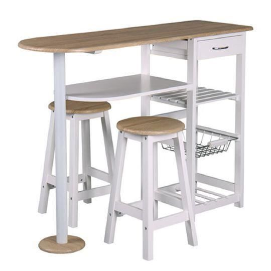 Table bar et 2 tabourets top chef achat vente table de cuisine table bar et 2 tabourets t - Table haute de cuisine et tabouret ...