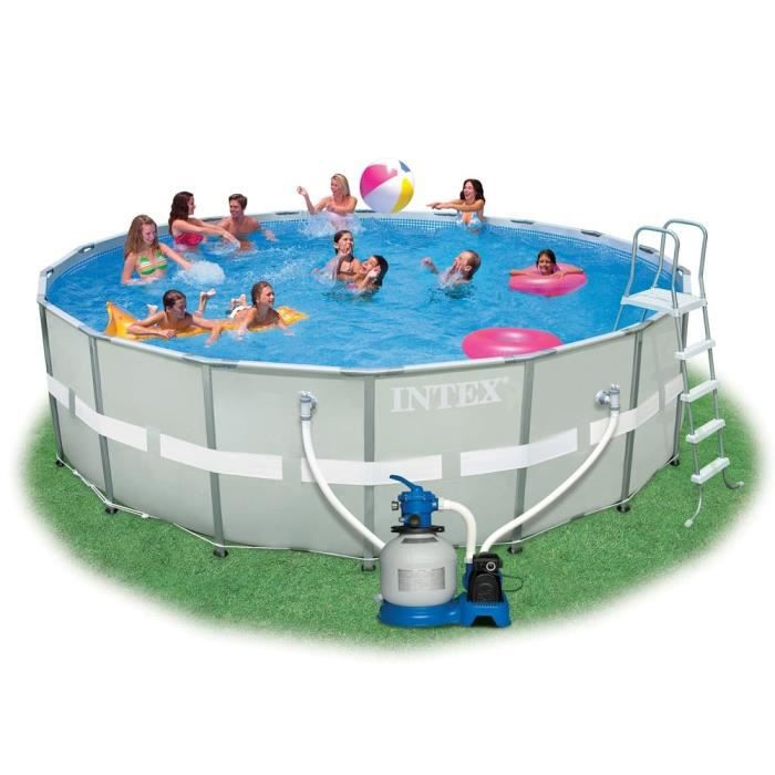 Intex ultra frame pool set piscine ronde tubulaire 5 49 x for Piscine ronde intex
