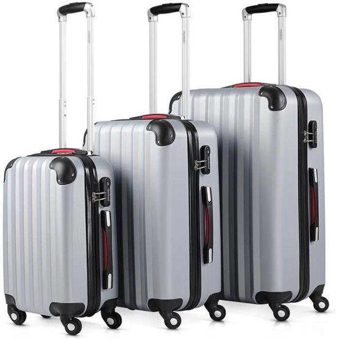 SET DE VALISES Monzana - Lot de 3 valises rigides Argent - Taille