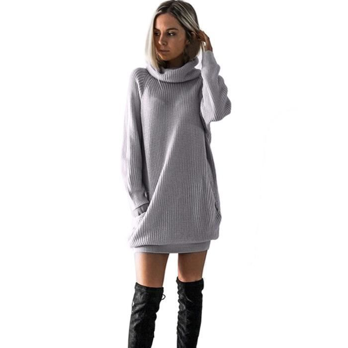 Femme Robe En Maille Col Roule Robe Pull Dame Mini Taille Gris Gris Achat Vente Robe Cdiscount