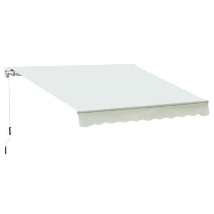 Store Banne Manuel R/étractable en Aluminium Polyester Imperm/éabilis/é 3 x 2,5 m Jaune+Vert