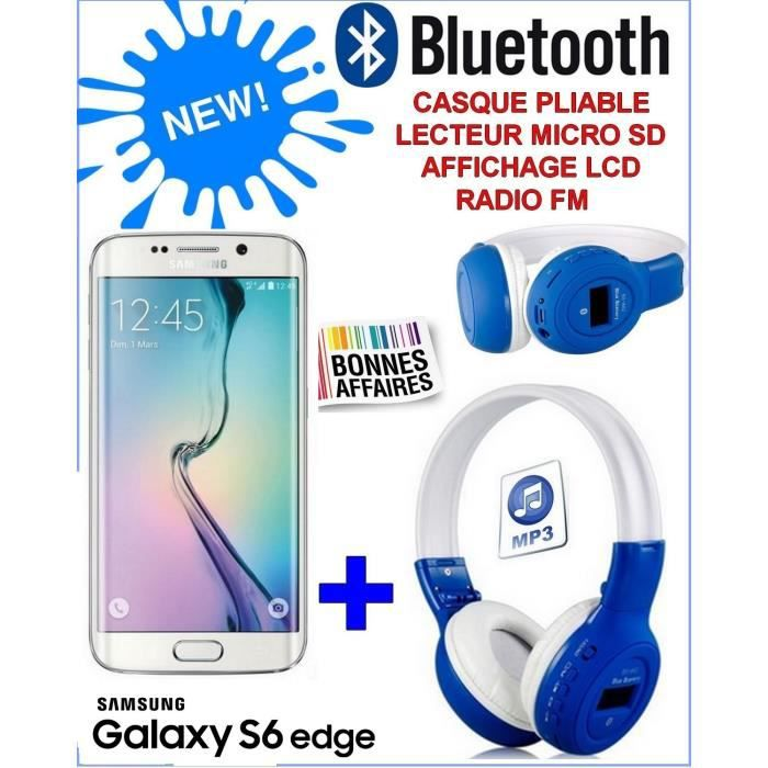 samsung galaxy s6 edge blanc casque bluetooth. Black Bedroom Furniture Sets. Home Design Ideas