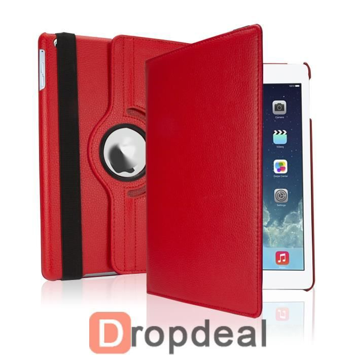 housse pochette etui luxe ipad air 2 ipad 6 rouge achat vente coque housse housse pochette. Black Bedroom Furniture Sets. Home Design Ideas