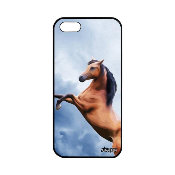 Coque silicone cheval iPhone 5 5S SE ciel poney 12