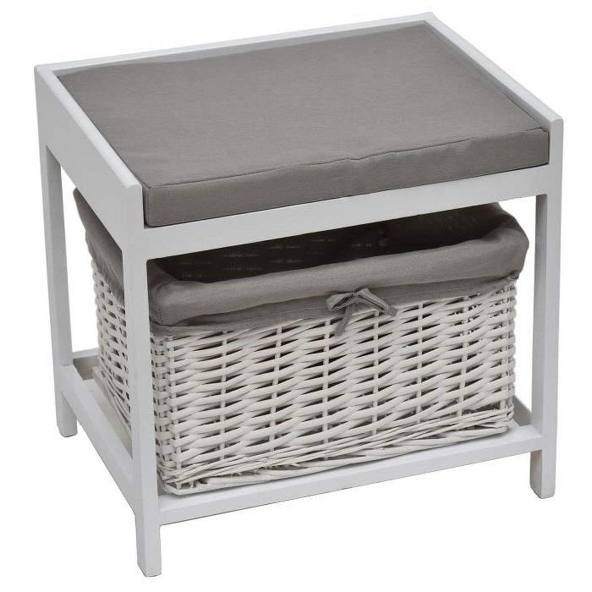 2 en 1 tabouret pouf meuble de salle de bain large gris et blanc blanc achat vente. Black Bedroom Furniture Sets. Home Design Ideas