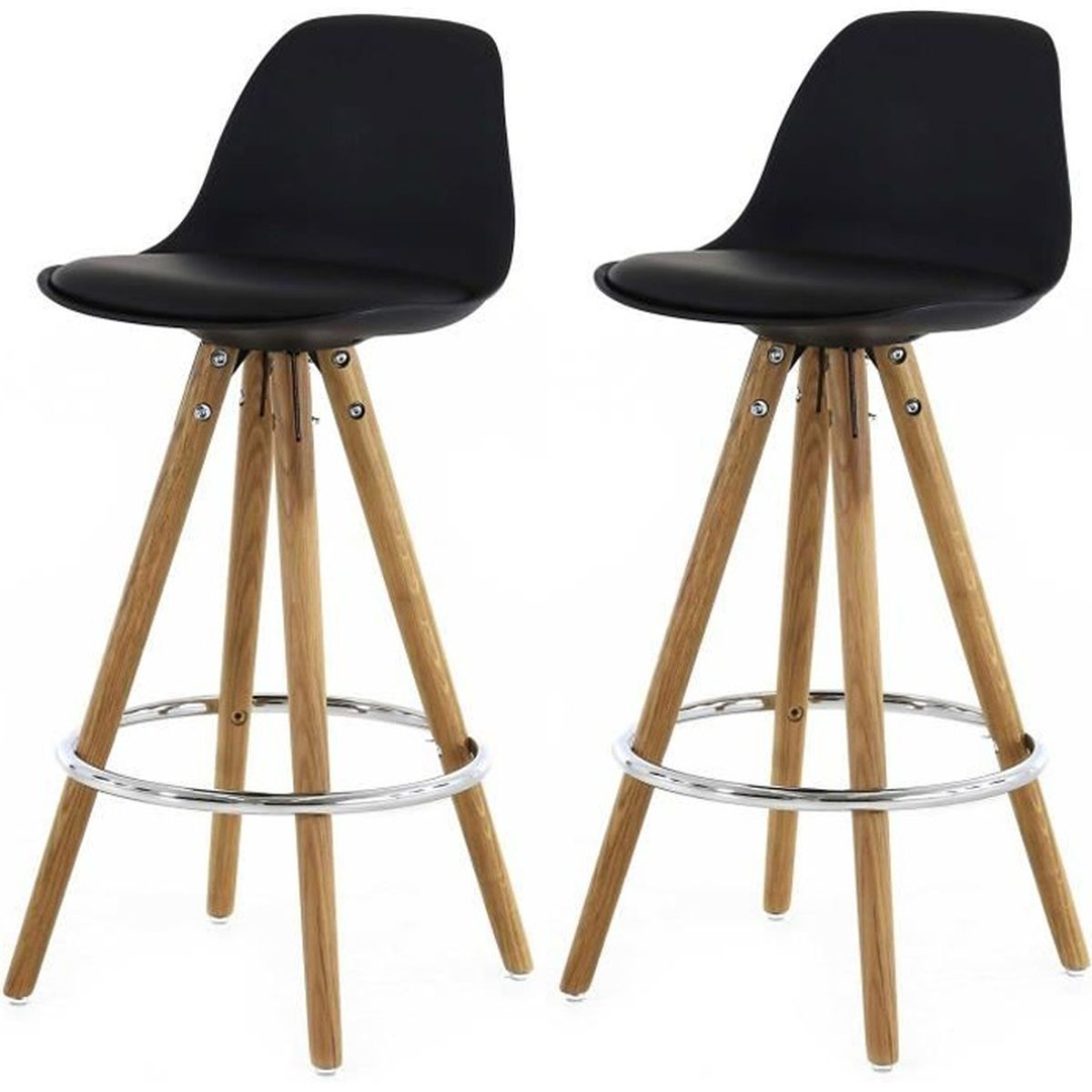 lot de 2 tabourets de bar scandinaves noir uma achat vente tabouret de bar noir soldes. Black Bedroom Furniture Sets. Home Design Ideas