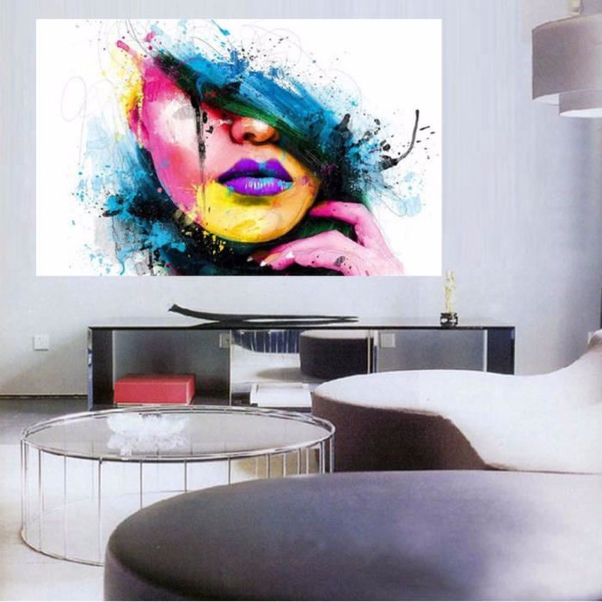 tableau peinture huile portrait toile painting abstraite moderne art d co mur achat vente. Black Bedroom Furniture Sets. Home Design Ideas