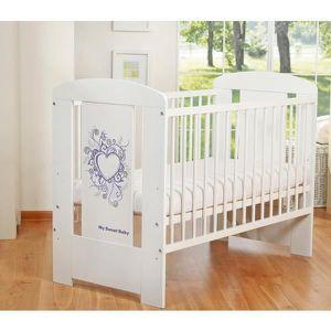 LIT BÉBÉ Lit bébé à barreaux 120 x 60 cm coeur mauve